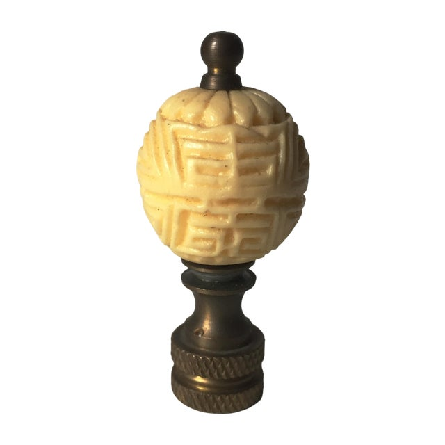 Vintage Carved Faux Ivory Lamp Finial - Image 1 of 3