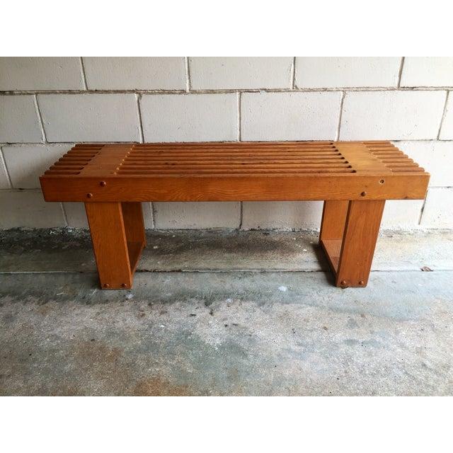 Image of Vintage Oak Slatted Bench