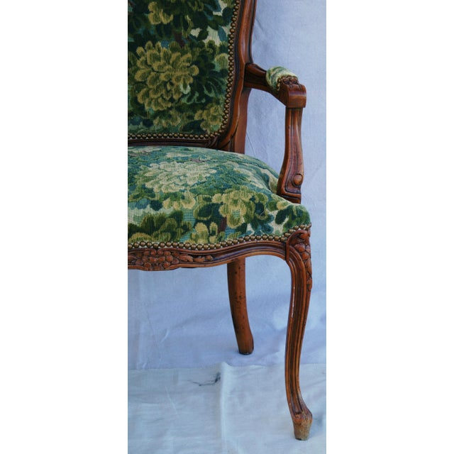 Scalamandre Marly Velvet Tapestry Fabric Walnut Armchair - Image 4 of 11