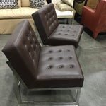Image of Drexel Heritage Leather & Chrome Chairs - A Pair