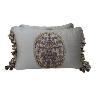 Floral Metallic Appliquess Monochromatic Silk Pillows - A Pair