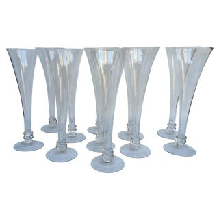 Hand Blown Glass Champagne Flutes - Set of 11