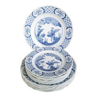 Old Chelsea Blue & White Salad & Dinner Plates, 12 Piece