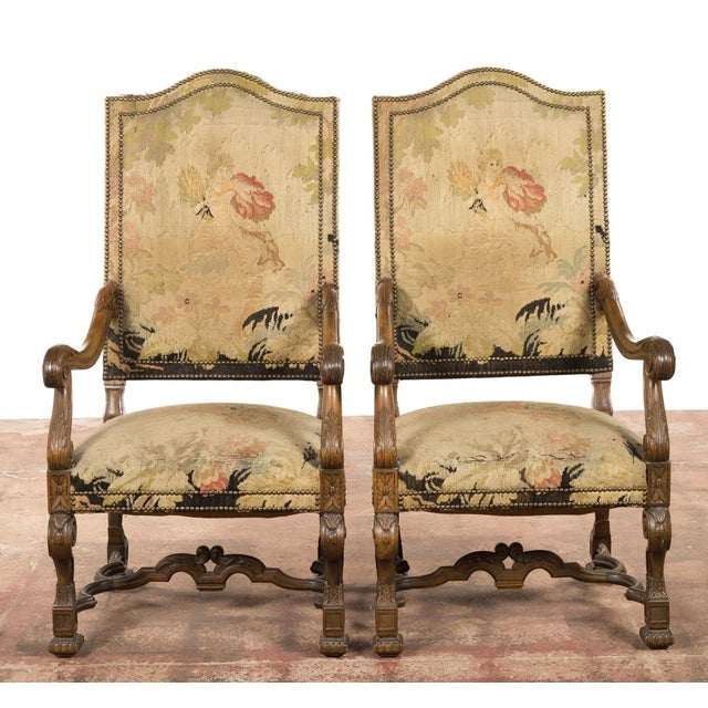 Antique Louis XIII Tapestry Armchairs - A Pair - Image 2 of 10