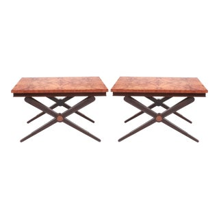 Baker Flamed Burl & Mahogany Side Tables - A Pair