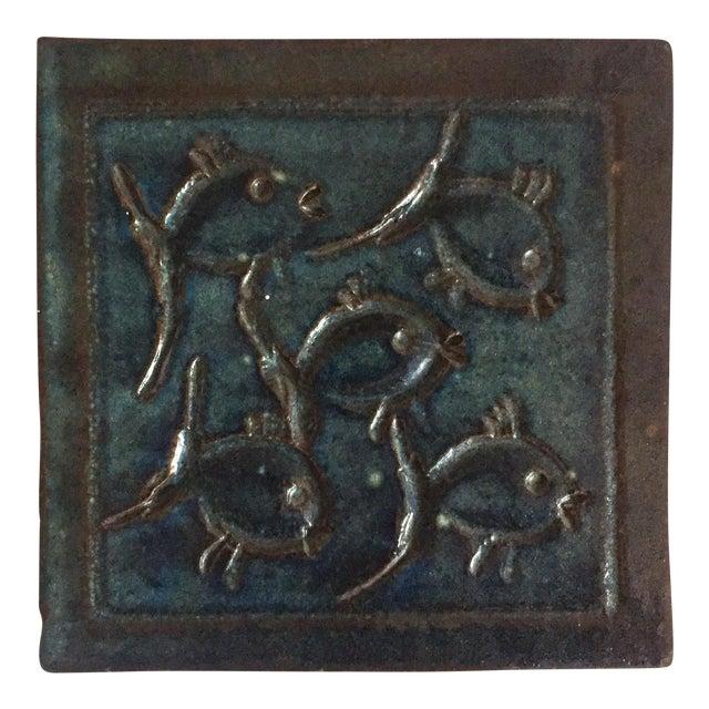 Mid-Century Art Studio Pottery Fish Tile, Trivet - Image 1 of 6