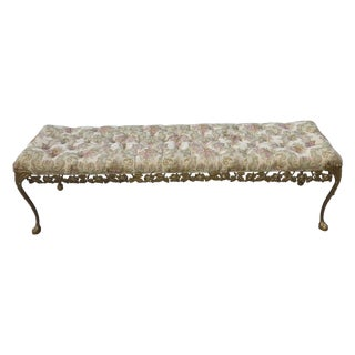 Hollywood Regency Tufted Metal Bed Side Bench