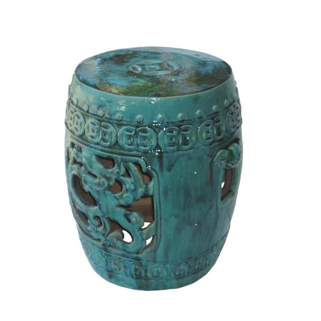 Image of Chinese Blue Green Dragon Garden Clay Stool Table