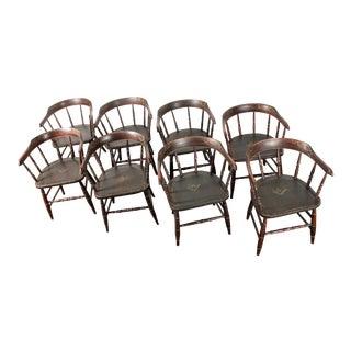 Hand-Painted Freemasons Masons Lodge Armchairs - Set of 8
