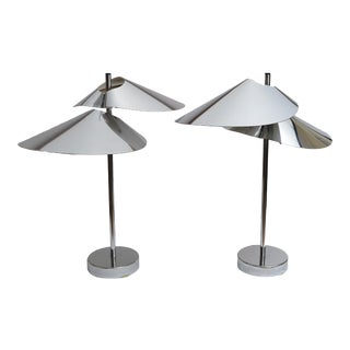 Curtis Jere Double Sided 'Visor' Table Lamps in Chrome - A Pair