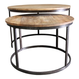Round Wooden Nesting Tables - A Pair