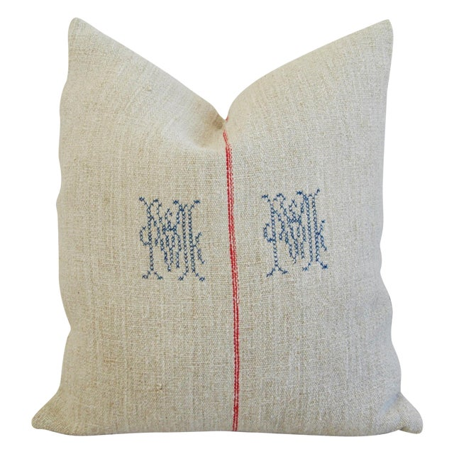 1940s French Grain Sack Textile Pillow - Image 1 of 7