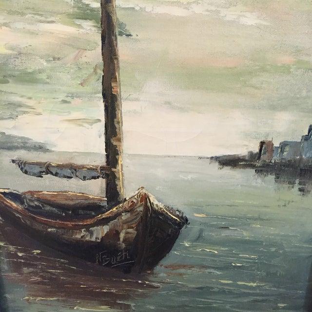 Image of Original Oil Painting of Schooner by N. Bueti