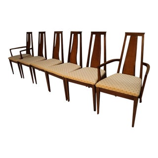 Mid Century Modern Six Walnut Dining Chairs American of Martinsville