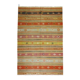 Vintage Turkish Striped Kilim Rug - 6'3'' x 8'9''