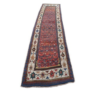 "West Persian Hand Knotted Kurdish Runner 3'4"" X 11'"