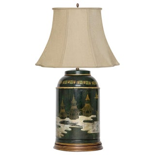 Italian Chinoiserie Tea Canister Lamp