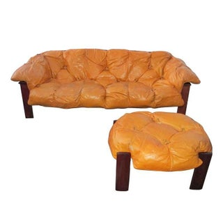 Percival Lafer Leather Tufted Sofa and Ottoman