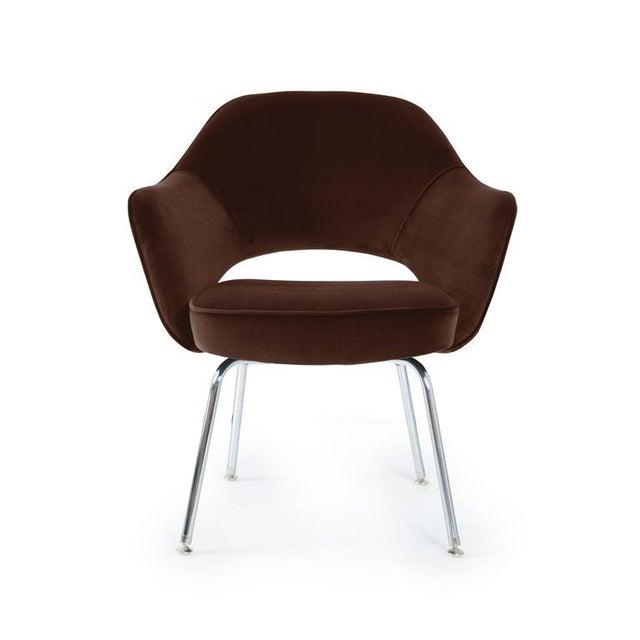 Image of Saarinen Executive Armchairs in Espresso Brown Velvet, Set of Six