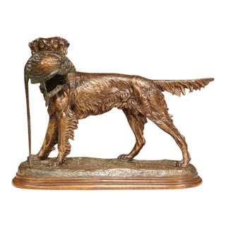 19th Century French Patinated Spelter Hunting Dog With Bird Figure