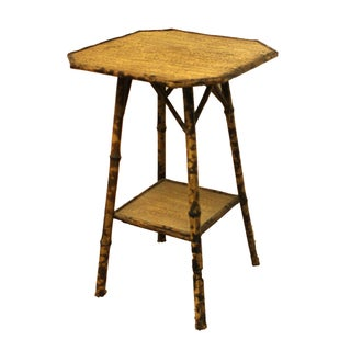19th Century Victorian Woven Bamboo Side Table