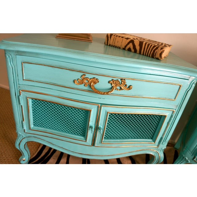 French Style Turquoise Nightstands - Pair - Image 10 of 10