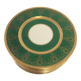Elegant Green With Gold Dinner Plates S/12