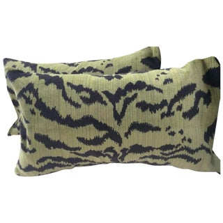 "Moss Scalamandre ""Le Tigre"" Down Pillows - A Pair"