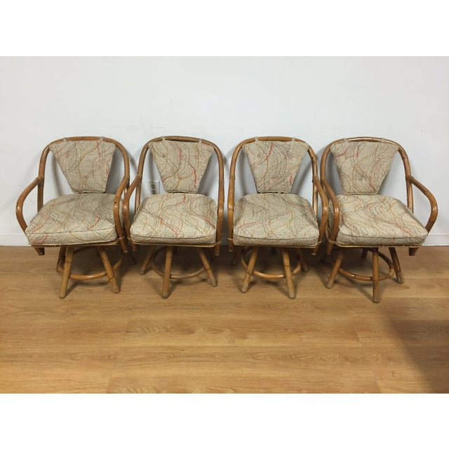 Bamboo Swivel Dining Chairs - Set of 4 - Image 3 of 11