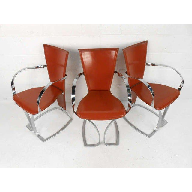 Vintage Chrome and Leather Dining Chairs - Set of 6 | Chairish