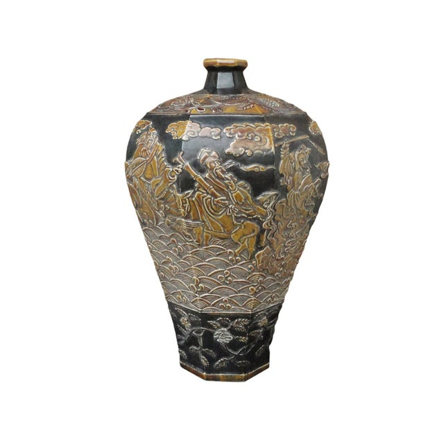 Chinese Eight Immortals Octangle Porcelain Vase - Image 1 of 10