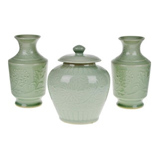 Chinese Ceramic Celadon Ginger Jar & Vases - Set of 3