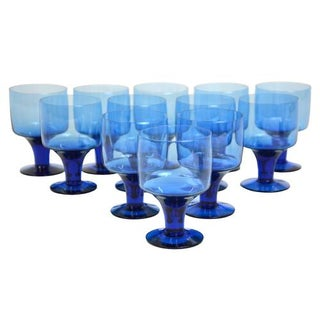 Mid-Century Petite Blue Goblets - Set of 12