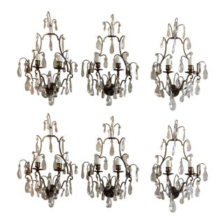 French Bronze & Crystal Wall Sconces - Set of 6