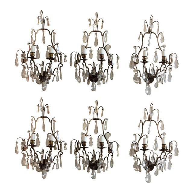Image of French Bronze & Crystal Wall Sconces - Set of 6