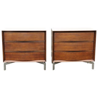 Mitchel Gold & Bob Williams Chrome 3-Drawer Chests - A Pair