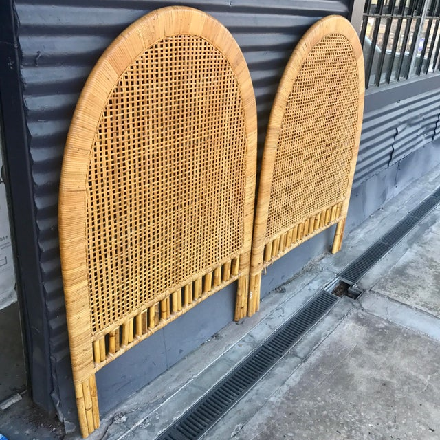 Vintage Rattan Caning Twin Headboards - A Pair - Image 3 of 10