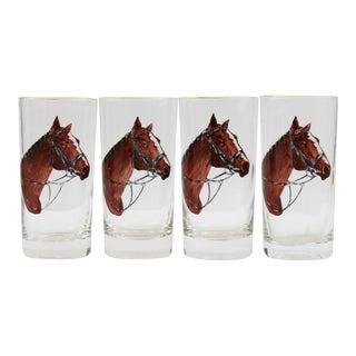Horse Head Highball Glasses - Set of 4