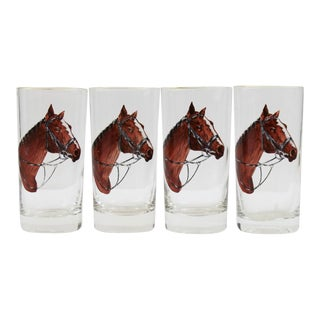 Horse Head Highball Glasses - Set of 4