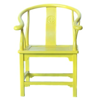 Chinoiserie Inspired Armchairs in Yellow - A Pair