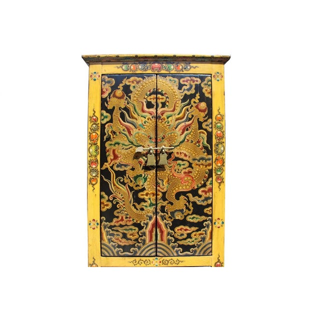 Chinese Tibetan Dragon Slim Multi Drawer Cabinet - Image 4 of 6