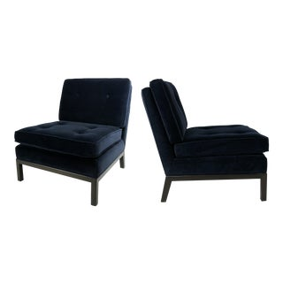 Pair of Velvet Slipper Chairs by Robsjohn-Gibbings for Widdicomb