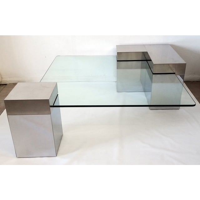 Paul Evans Style Chrome & Glass Coffee Table - Image 3 of 7