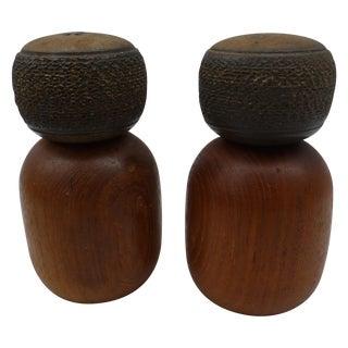 Danish Modern Teak & Ceramic Salt & Pepper Shakers