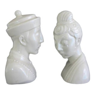 Mid-Century James Mont Style Chinoiserie Blanc De Chine Style Ceramic Busts - A Pair