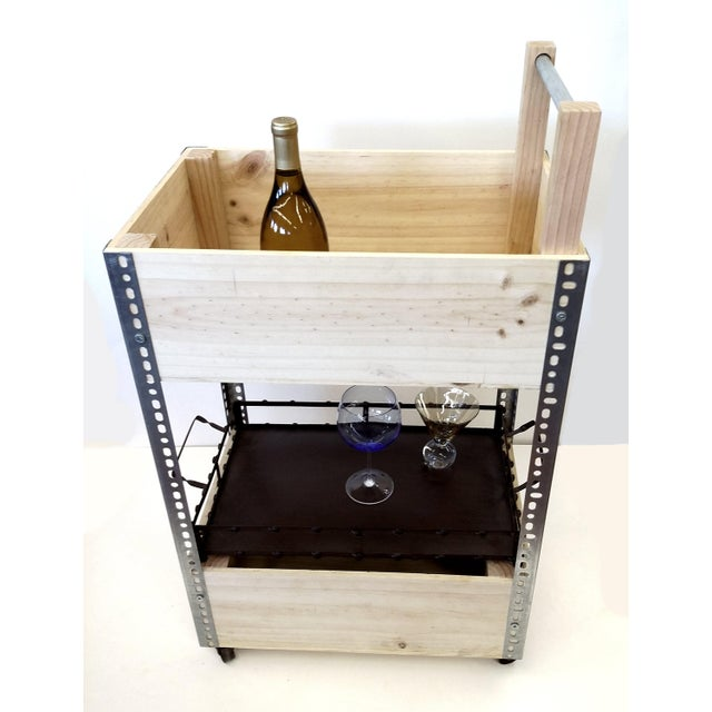 French Wine Box Industrial Bar Cart - Image 8 of 11