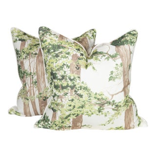 Custom Green Woodland Pillows - A Pair