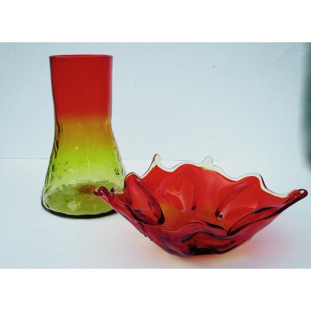 Mid-Century Modern 1960s Orange & Yellow Blenko Glass Vase - Image 4 of 9