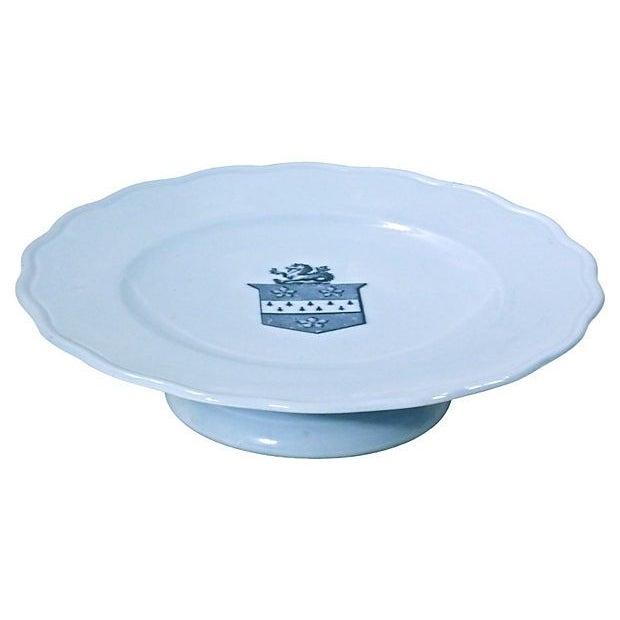 Image of Vintage Porcelain Shield Crest Pedestal Plate
