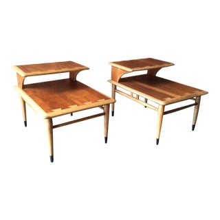 Mid Century Lane Acclaim Refinished Dovetail Side Tables - a Pair